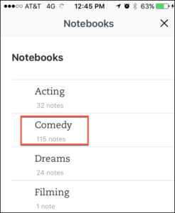 Evernote Notebook List